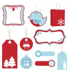 red and blue Christmas tags vector image vector image