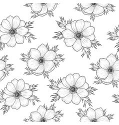 Seamless pattern with monochrome anemone vector image vector image