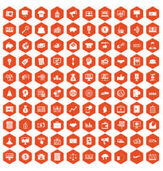100 e-commerce icons hexagon orange vector