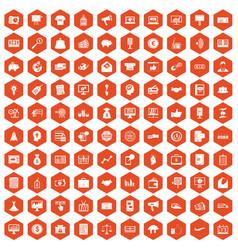 100 e-commerce icons hexagon orange vector