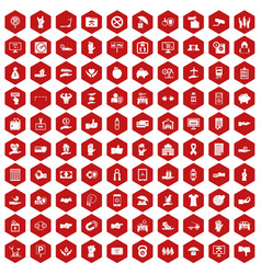 100 hand icons hexagon red vector