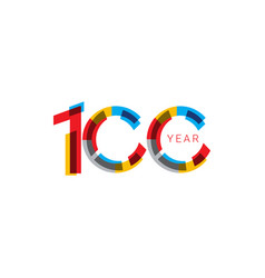 100 years anniversary celebration out color vector
