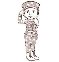 A plain sketch of a female soldier vector