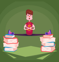 a student in a ywine on piles of thick books vector image