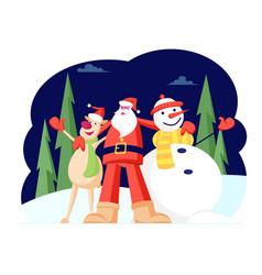 adorable christmas characters santa claus hugging vector image