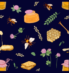 Apiculture or beekeeping seamless pattern vector