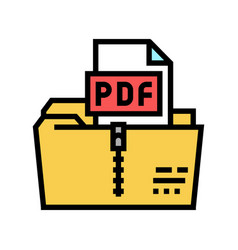 Archiving pdf file color icon vector
