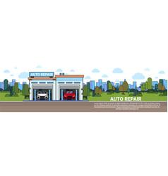 Auto repair service garage mechnic vehicle vector