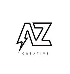 Az letter logo design with lighting thunder bolt vector