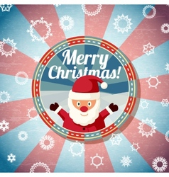 Badge with cute santa claus and -Merry Christmas vector image