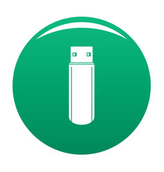 Big flash drive icon green vector