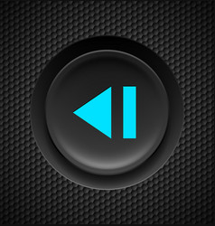 Black button with blue sign of fast backward on vector