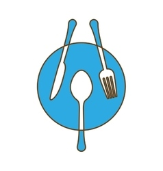 blue plate with cutlery icon image vector image