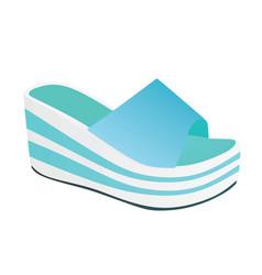 Blue striped woman sandal vector