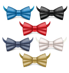 Bowtie icons set realistic style vector