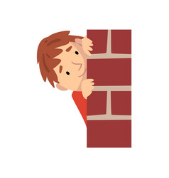 Boy hiding behind brick wall and peeping cartoon vector