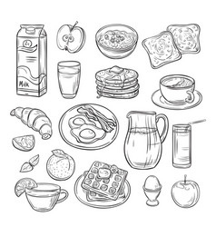 breakfast doodle sandwich bread toast egg butter vector image