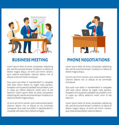Business meeting and phone negotiation office work vector