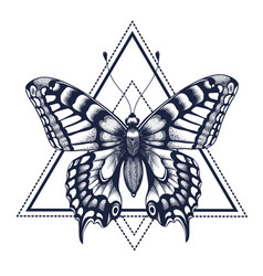 Butterfly in triangle tattoo dotwork tattoo vector