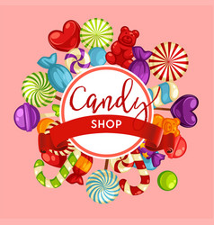 candy shop lollipops or caramel treat vector image