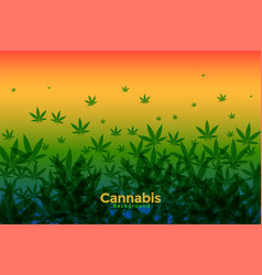 Cannabis leaves background with warm gradient vector