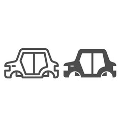 Car body line and glyph icon car frame vector