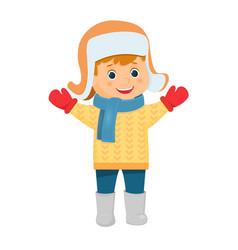 cartoon boy in fur hat vector image vector image