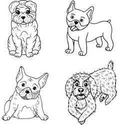 Cartoon dogs coloring page isolated set vector
