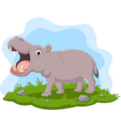 cartoon hippo with open mouth in grass vector image