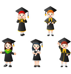 cartoon kid in graduation costumes with different vector image