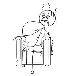 Cartoon of exhausted man sitting collapsed in vector