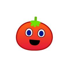 cartoon tomato face emoji icon design smile face vector image