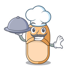 Chef with food home slippers icon in cartoon style vector