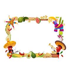 cinco de mayo frame mexican holiday border vector image