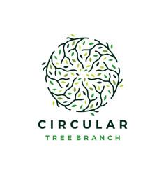 Circle circular tree branch logo icon vector