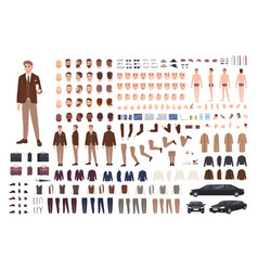 Classy stylish man in suit creation set or vector
