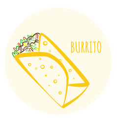 Colorful outline burrito symbol vector