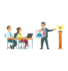 conference workers laptops and male boss target vector image