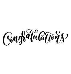 congratulations calligraphy lettering text card vector image