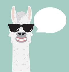 Cute alpaca with glasses speech bubble vector