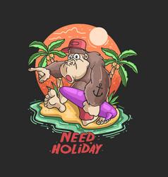 cute gorilla happy summertime vector image