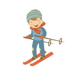 Cute little boy skiing vector