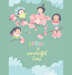 Cute little girls with cherry blossom vector