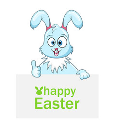 cute rabbit with sheet of paper for happy easter vector image