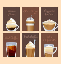 different filled coffee cups card templates vector image