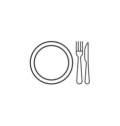 dinner dish fork knife icon can be used for web vector image