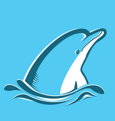 Dolphin in blue sea vector