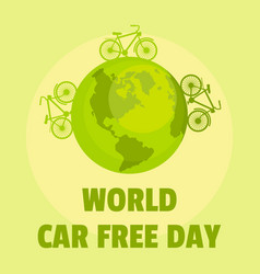 Earth car free day background flat style vector