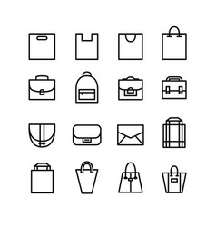 editable stroke line art shopping bag icons set vector image