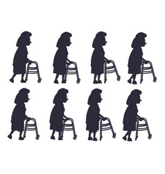 Elderly woman with walking frame vector